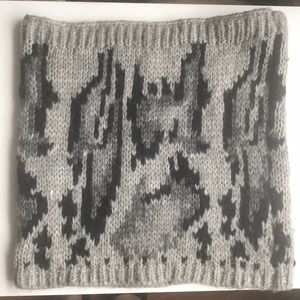 Gray Gap Leopard Print Knit Cowl Infinity Scarf
